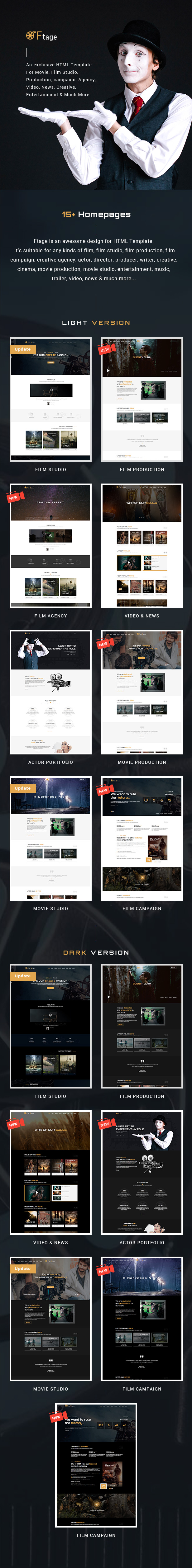 Film Studio Movie Production HTML Template - Ftage - 2