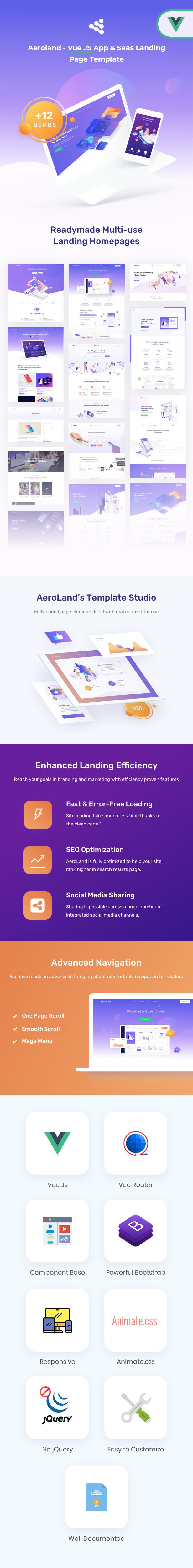 Aeroland - Vue JS App & Saas Landing Page Template - 1