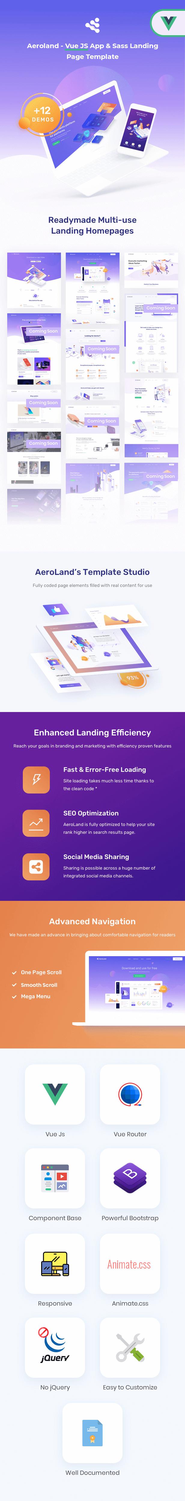 Aeroland - Vue JS App & Sass Landing Page Template - 1