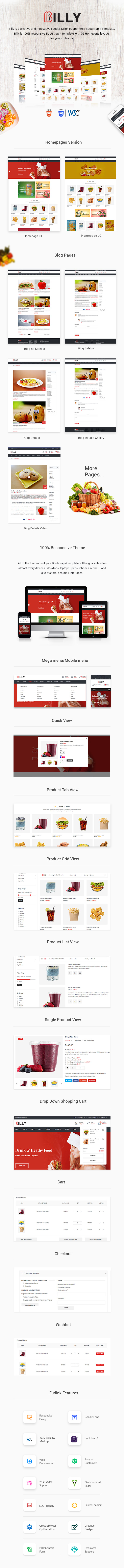 Billy - Food & Drink eCommerce Bootstrap4 Template - 1