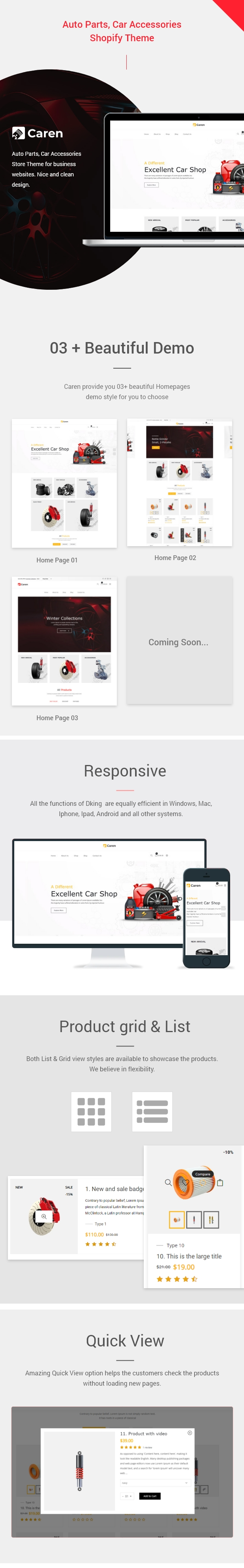 Caren - Auto Parts, Car Accessories Shopify Theme - 1