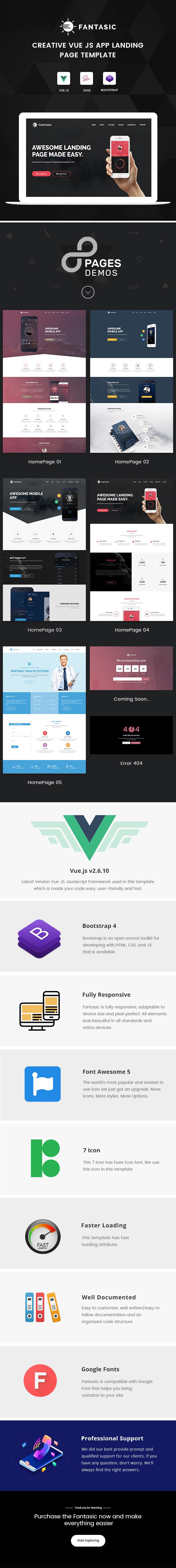 Fantasic - Vue JS App Landing Page Template - 1