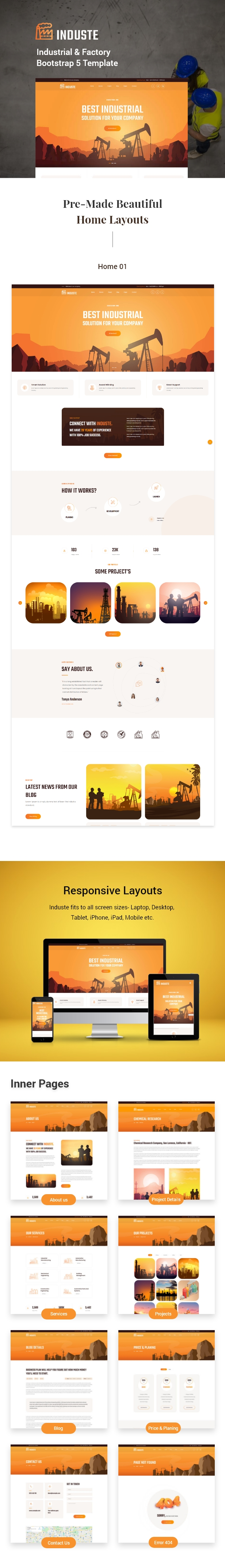 Induste - Industrial & Factory Bootstrap 5 Template - 1