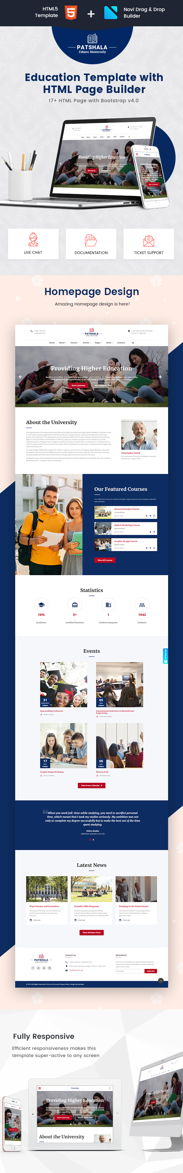 Patshala – Education HTML Template with Page Builder - 1