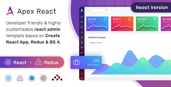 Apex React Admin Template with Bootstrap + Redux