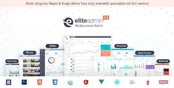 Elite Admin Multipurpose Bootstrap, Angular, React & VueJs Dashboard Template