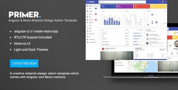 Primer Angular & React Material Design Admin Template
