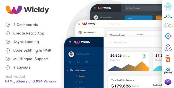 Wieldy React Admin Template Ant Design and Redux