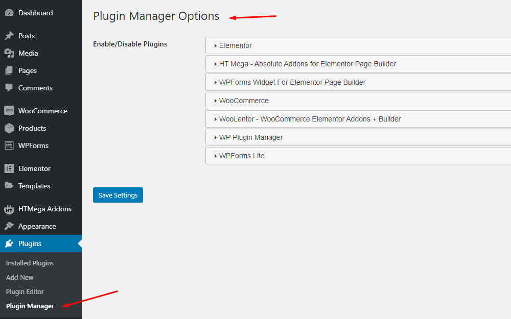 WP Plugin Manager Option panel