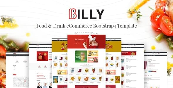 Billy Food & Drink eCommerce Bootstrap4 Template