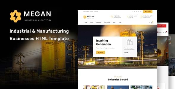 Megan Industrial & Manufacturing Businesses HTML Template