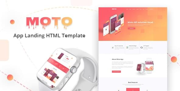 Moto Multipurpose App Landing Page HTML Template